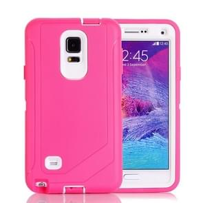 Hybrid TPU Bumper PC Combination Case for Samsung Galaxy Note 4(Pink+White)