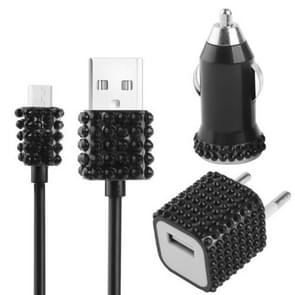 3 in 1 (Car Charger + EU Plug Travel Charger + Micro USB Cable) 5V / 1A Diamond Encrusted Charger Travel Kit, For Samsung, HTC, Sony, Lenovo, Huawei, and other Smartphones(Black)