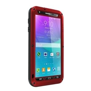 LOVE MEI Metal Ultra-thin Waterproof Dustproof Shockproof Powerful Protective Case for Samsung Galaxy Note 4(Red)
