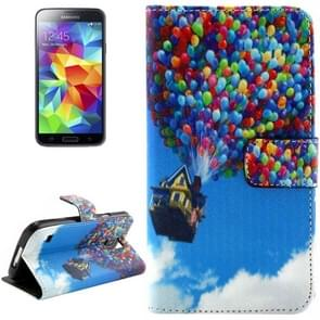 Balloon and House Pattern Leather Case with Holder & Card Slots & Wallet for Samsung Galaxy S5