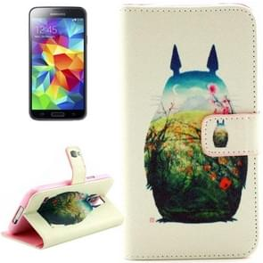 Totoro Pattern Leather Case with Holder & Card Slots & Wallet for Samsung Galaxy S5