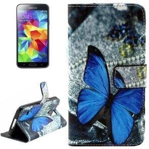 Blue Butterfly Pattern Leather Case with Holder & Card Slots & Wallet for Samsung Galaxy S5
