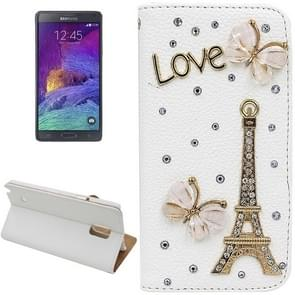 Litchi Texture Eiffel Tower Diamond Encrusted Leather Case with Holder and Card Slots for Samsung Galaxy Note 4