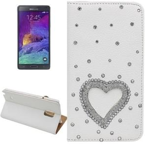 Litchi Texture Heart Pattern Diamond Encrusted Leather Case with Holder and Card Slots for Samsung Galaxy Note 4