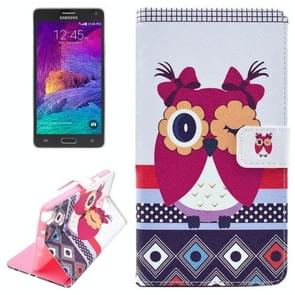 Owl Pattern Horizontal Flip Magnetic Buckle Leather Case with Card Slots & Wallet & Holder for Samsung Galaxy Note 4