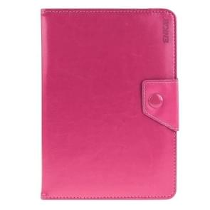 Universal Crazy Horse Texture Horizontal Flip Leather Case with Holder for 9 inch Tablet PC(Magenta)