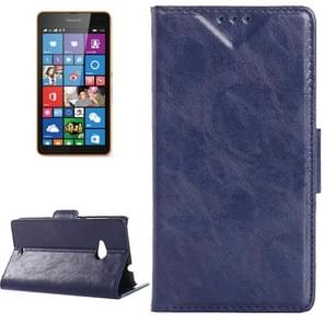 Oil Skin Texture Horizontal Flip Leather Case with Card Slots & Wallet & Holder for Microsoft Lumia 535(Dark Blue)