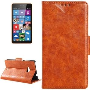 Oil Skin Texture Horizontal Flip Leather Case with Card Slots & Wallet & Holder for Microsoft Lumia 535(Brown)