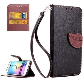 For Samsung Galaxy S6 Edge Leaf Magnetic Snap Litchi Texture Horizontal Flip Leather Case with Card Slots & Holder & Lanyard (Black)