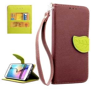 For Samsung Galaxy S6 Edge Leaf Magnetic Snap Litchi Texture Horizontal Flip Leather Case with Card Slots & Holder & Lanyard (Brown)