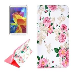 Chinese Rose Pattern Horizontal Flip Leather Case with Holder for Samsung Galaxy Tab 4 8.0 / T330