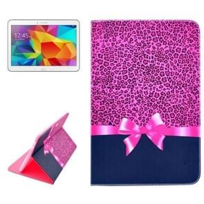 Pink Leopard Pattern Horizontal Flip Leather Case with Holder for Samsung Galaxy Tab 4 10.1 / T530