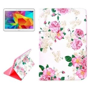 Chinese Rose Pattern Horizontal Flip Leather Case with Holder for Samsung Galaxy Tab 4 10.1 / T530