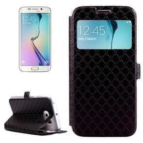 For Samsung Galaxy S6 Edge / G925 Diamond Texture Flip Leather Case with Card Slots & Holder & Caller ID Display Window (Black)