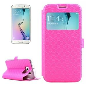 For Samsung Galaxy S6 Edge / G925 Diamond Texture Flip Leather Case with Card Slots & Holder & Caller ID Display Window (Magenta)