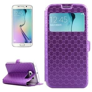 For Samsung Galaxy S6 Edge / G925 Diamond Texture Flip Leather Case with Card Slots & Holder & Caller ID Display Window (Purple)