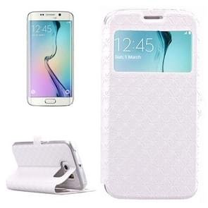 For Samsung Galaxy S6 Edge / G925 Diamond Texture Flip Leather Case with Card Slots & Holder & Caller ID Display Window (White)