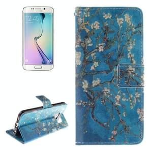 For Samsung Galaxy S6 Edge / G925 Plum Pattern Leather Case with Holder & Card Slot & Wallet