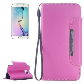 For Samsung Galaxy S6 Edge Frosted Texture Horizontal Flip Magnetic Buckle Leather Case with Card Slots & Wallet & Holder & Lanyard (Pink)