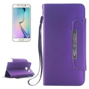 For Samsung Galaxy S6 Edge Frosted Texture Horizontal Flip Magnetic Buckle Leather Case with Card Slots & Wallet & Holder & Lanyard (Purple)