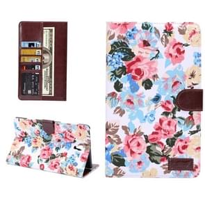 Flowers Pattern Horizontal Flip Leather Case with Card Slot & Wallet & Holder for Samsung Galaxy Tab S 8.4 / T700(White)