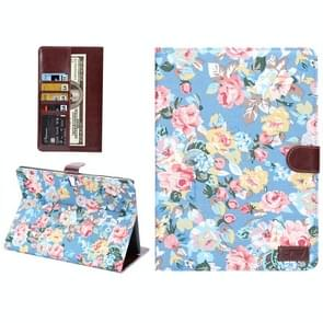 Flowers Pattern Horizontal Flip Leather Case with Card Slot & Wallet & Holder for Samsung Galaxy Tab S 10.5 / T800(Blue)