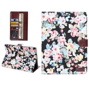 Flowers Pattern Horizontal Flip Leather Case with Card Slot & Wallet & Holder for Samsung Galaxy Tab S 10.5 / T800(Black)