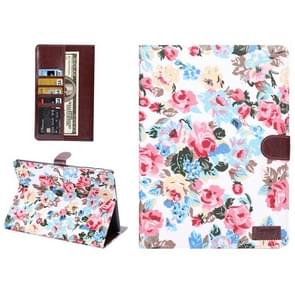 Flowers Pattern Horizontal Flip Leather Case with Card Slot & Wallet & Holder for Samsung Galaxy Tab S 10.5 / T800(White)