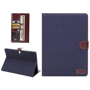 Denim Texture Horizontal Flip Leather Case with Card Slot & Wallet & Holder for Samsung Galaxy Tab S 10.5 / T800(Dark Blue)