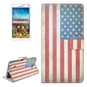 Retro US Flag Pattern Flip Leather Case with Holder & Card Slots for Samsung Galaxy Note 4 / N910