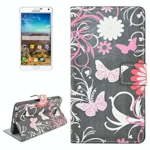 Pink Butterfly Pattern Flip Leather Case with Holder & Card Slots for Samsung Galaxy Note 4 / N910