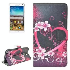 Flower and Heart Pattern Flip Leather Case with Holder & Card Slots for Samsung Galaxy Note 4 / N910