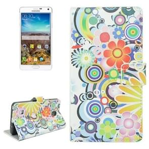 Coloful Flower Pattern Flip Leather Case with Holder & Card Slots for Samsung Galaxy Note 4 / N910