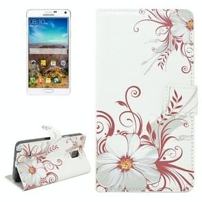 Flower Pattern Flip Leather Case with Holder & Card Slots for Samsung Galaxy Note 4 / N910