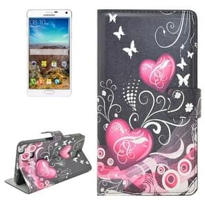 Pink Heart Pattern Flip Leather Case with Holder & Card Slots for Samsung Galaxy Note 4 / N910