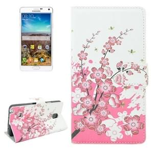 Cherry Blossom Pattern Flip Leather Case with Holder & Card Slots for Samsung Galaxy Note 4 / N910