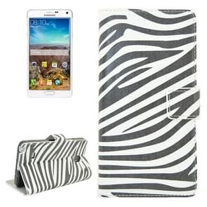 Zebra Stripe Pattern Flip Leather Case with Holder & Card Slots for Samsung Galaxy Note 4 / N910