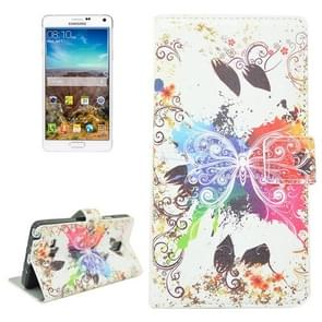 Butterfly Pattern Flip Leather Case with Holder & Card Slots for Samsung Galaxy Note 4 / N910