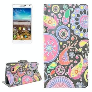 Acaleph Pattern Flip Leather Case with Holder & Card Slots for Samsung Galaxy Note 4 / N910