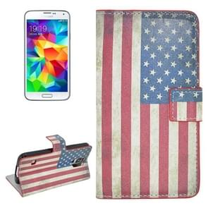 Retro US Flag Pattern Flip Leather Case with Holder & Card Slots for Samsung Galaxy S5 / G900