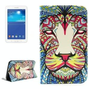 Lion Pattern Double Sided Print Leather Case with Holder & Card Slots & Wallet for Samsung Galaxy Tab 3 Lite 7.0 / T110 / T111