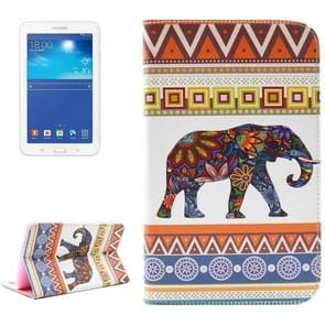 Ethnic Elephant Pattern Double Sided Print Leather Case with Holder & Card Slots & Wallet for Samsung Galaxy Tab 3 Lite 7.0 / T110 / T111
