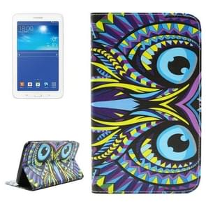 Owl Pattern Double Sided Print Leather Case with Holder & Card Slots & Wallet for Samsung Galaxy Tab 3 Lite 7.0 / T110 / T111