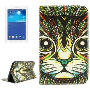 Cat Pattern Double Sided Print Leather Case with Holder & Card Slots & Wallet for Samsung Galaxy Tab 3 Lite 7.0 / T110 / T111