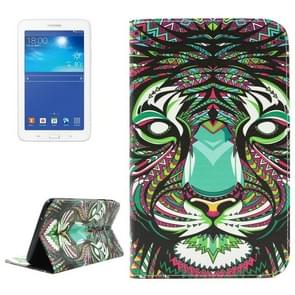 Tiger Pattern Double Sided Print Leather Case with Holder & Card Slots & Wallet for Samsung Galaxy Tab 3 Lite 7.0 / T110 / T111
