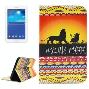 HAKUNA MATATA Pattern Double Sided Print Leather Case with Holder & Card Slots & Wallet for Samsung Galaxy Tab 3 Lite 7.0 / T110 / T111