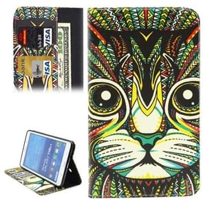 Ethnic Style Cartoon Cat Pattern Horizontal Flip Leather Case with Holder & Card Slots & Wallet for Samsung Galaxy Tab 4 7.0 / T230