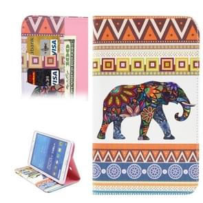 Flower Elephant & Geometry Pattern Horizontal Flip Leather Case with Holder & Card Slots & Wallet for Samsung Galaxy Tab 4 7.0 / T230