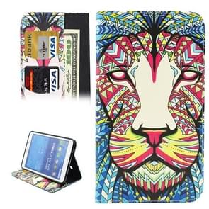 Colorful Cartoon Lion Pattern Horizontal Flip Leather Case with Holder & Card Slots & Wallet for Samsung Galaxy Tab 4 7.0 / T230