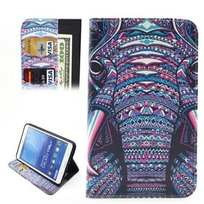 Ethnic Style Cartoon Elephant Pattern Horizontal Flip Leather Case with Holder & Card Slots & Wallet for Samsung Galaxy Tab 4 7.0 / T230